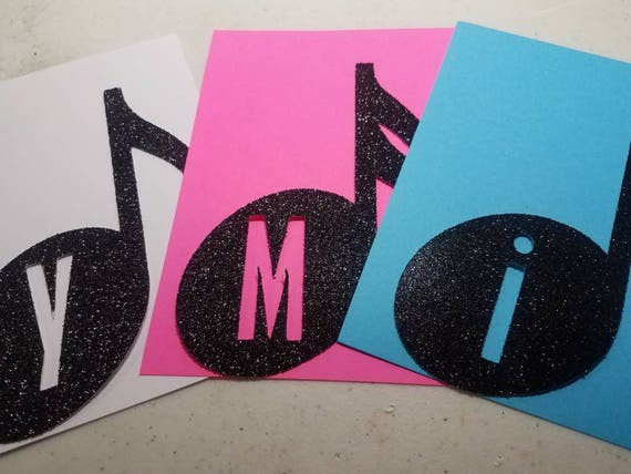 Choose letters only, banner, colors+text! Personalized Music note