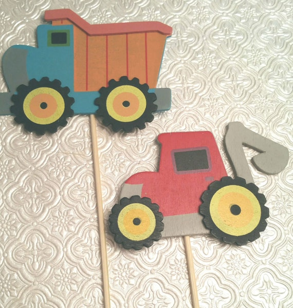 Swell Tonka Truck Tractor Builder Themed Layered Wood Toppers Etsy Funny Birthday Cards Online Necthendildamsfinfo