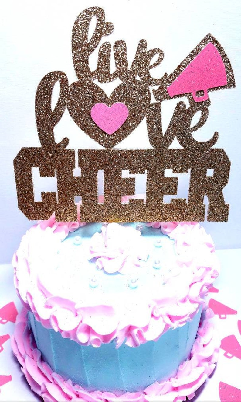 Awe Inspiring Double Sided Live Love Cheer Centerpiece Or Cake Topper Etsy Funny Birthday Cards Online Fluifree Goldxyz