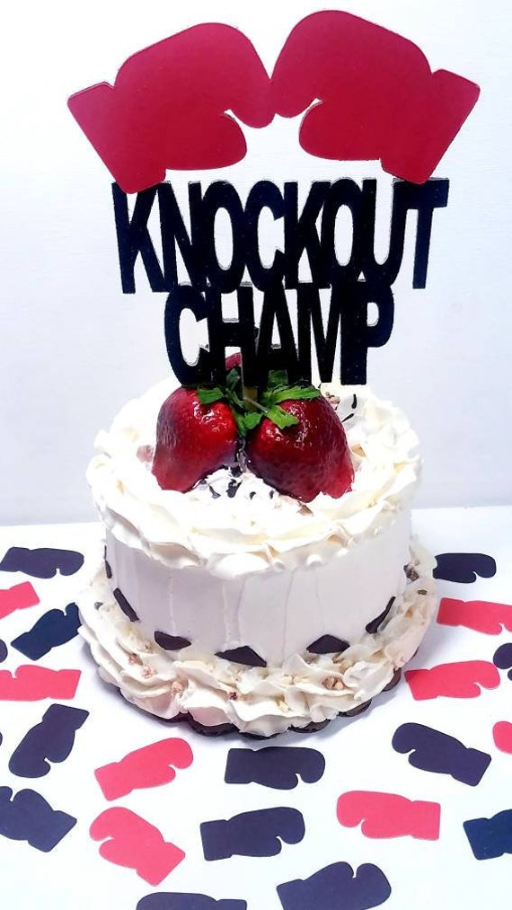 Fantastic Double Sided Boxing Gloves Boxer Knockout Champ Cake Topper Etsy Funny Birthday Cards Online Alyptdamsfinfo