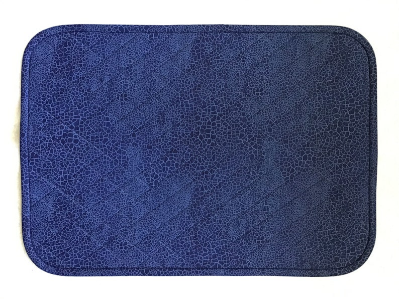 Dark Blue Snake Pattern Quilted Rectangular Placemats Sold in Sets of 2 Reptile Print Placemats