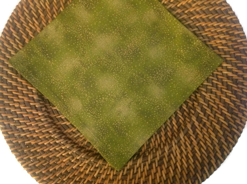 Cloth Dinner Napins Reusable Cloth Napkins Cloth Napkin in a Tonal Olive Green Color with Specks of MetLlic Gold Set of 2