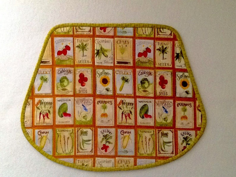 Old fashioned seed packs Seed packets quilted placemats wedge shape Farmers placemat