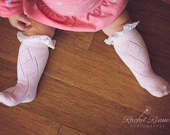 a0f0ecca71a Baby Socks with Lace Baby Girl Boot Socks Baby Girl Newborn Gift Christmas  Gift Idea Stocking Stuffer Baby Leg Warmers Baby Lace Socks