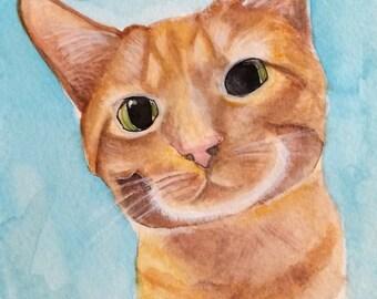 Custom Cat Watercolor Portrait