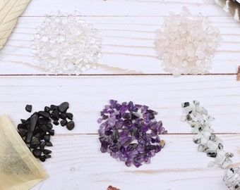 Crystal Chip Set Bags of Amethyst, Rose Quartz, and Clear Quartz Chips plus 2 Bags of Gem Chips of your choice