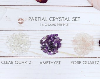 Amethyst, Rose Quartz, and Clear Quartz Chips Set, 14g Bags