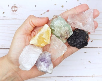 Starter Crystal Kit of 7 Rough Healing Gemstones, Starter Crystal Set