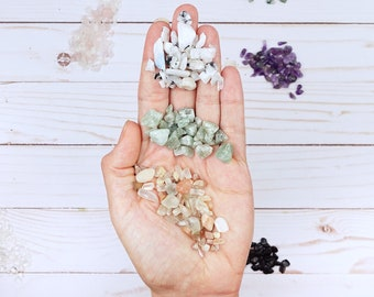 14g Crystal Chip Bag Pack of Green Aventurine, Moonstone, and Rainbow Moonstone Gem Chips, FREE Shipping