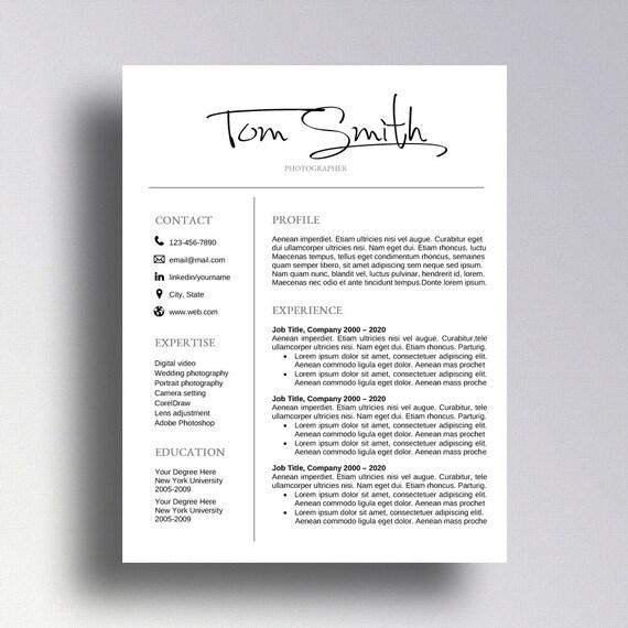 Vente Professional Reprendre Modèle Cv Modèle Lettre Pour Mot Curriculum Vitae Professionnel Design Téléchargement Instantané Photographe