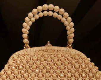 Vintage 50s Italian Cream Crochet Beaded Bag by Lanza, Made in Italy. Book Piece!