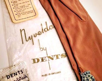Vintage Dents Sueded Nylon Gloves Size 7 Nyvelda Made in England Never Worn! Mint Condition!
