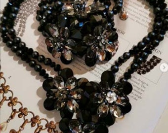 BUTLER & WILSON Crystal Beaded Flower Necklace and Corsage Bracelet