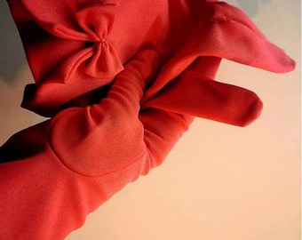 Vintage 60s Orange Bow Wrist Gloves