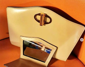 Vintage 80s Real Leather Clutch Bag by Dunhill.