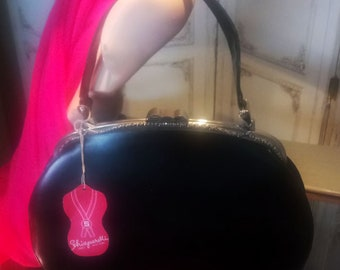 50s Rare! Elsa Schiaparelli Black Leather Handbag. NEW YORK, PARIS label.
