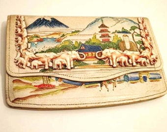 Vintage 30's Celluloid Elephants Clutch Bag, Embossed Mount Fuji Japan, Mirror, Coin Purse and Comb