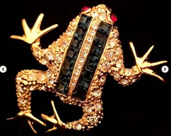 KJL, Kenneth Jay Lane Frog Brooch Princess Cut Rhinestones. Frog brooch or Toad brooch Signed KENNETH©LANE