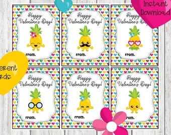 Flamingo Pineapple Flamingo Pineapple Valentines School Valentines Tropical Valentines Girl Valentines Kids Valentines Valentines Day