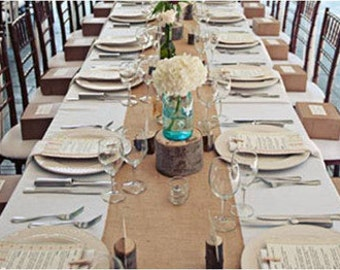 90 X 15 Inch Burlap Table Runners Fit 5ft Round Etsy