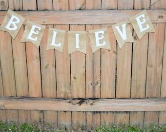 Burlap 'Believe Banner