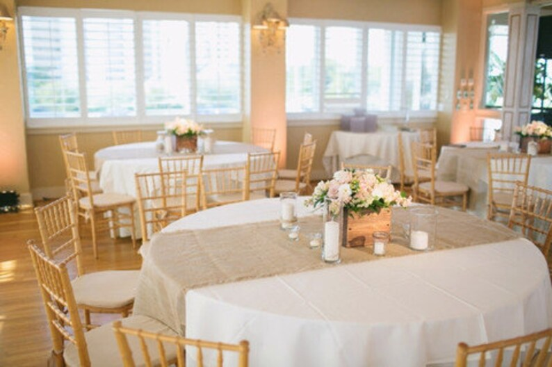 Table Runner On A Round Table.102 X 15 Inch Burlap Table Runners Fit 6ft Round Tables