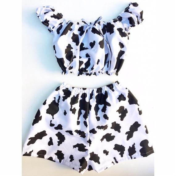 Handmade Cow Print Crop Top