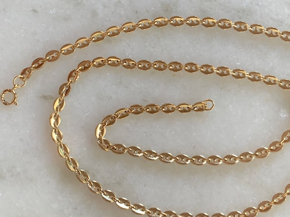 2 ANTIQUED GOLDTONE 24 inch Curb Link Costume Jewelry CHAINS Lobster Claw Clasp