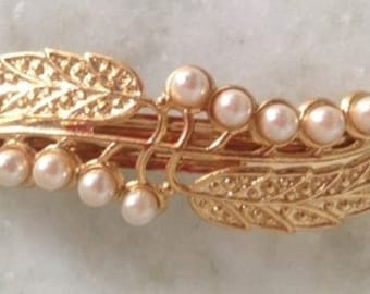 Gold Leaves & Pearls Barrette