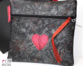 Kit multi-purpose with red heart on black fabric #0017