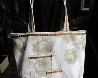 Leather tote bag ecru, big roses