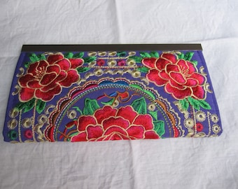 Coin purse, wallet, wallet, purple, embroidered flowers 1
