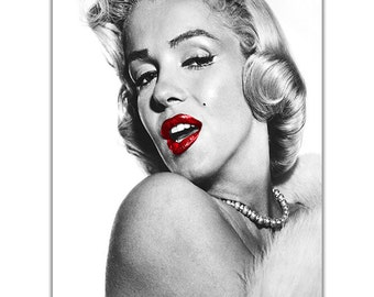 Marilyn Monroe Glamorous Red Lips On Canvas Pictures Wall Art Prints Home Decoration Framed Poster Modern Hollywood Legend Ready To Hang