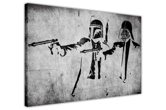 Banksy Artwork Starwars Pulp Fiction Framed Prints Canvas Wall   Etsy