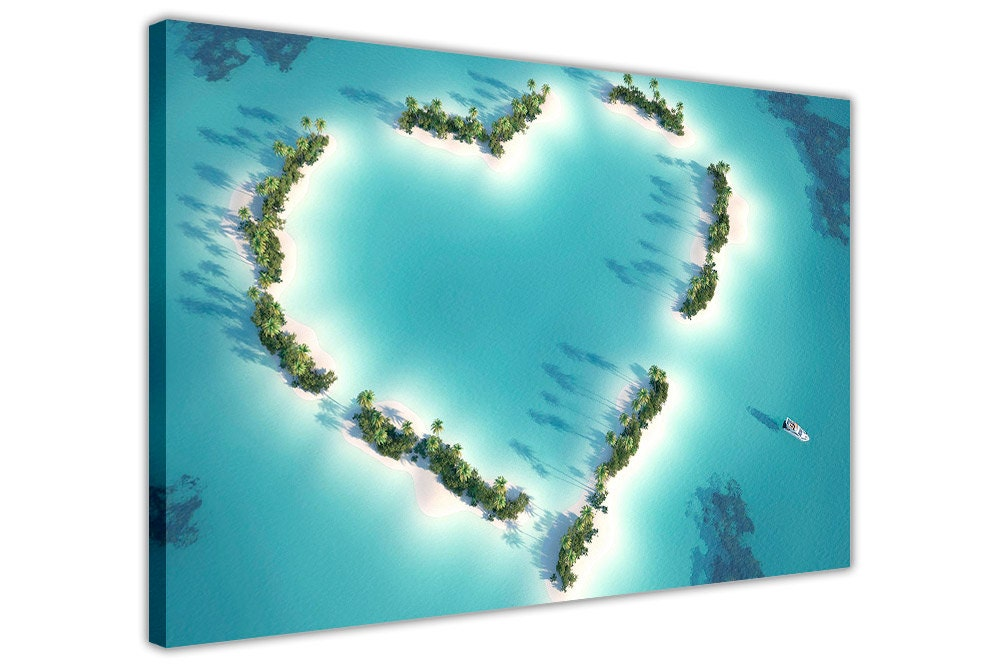 Herz Insel Ocean Leinwand Wand Kunst Drucke zu Hause   Etsy