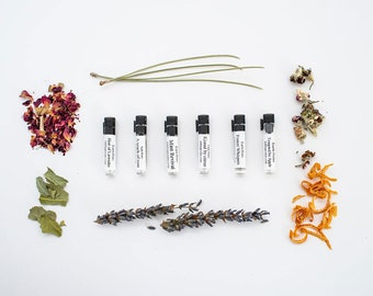 Earth Notes sample pack -all 6 scents; apple, lavender, rose, mint, citrus, pine, oil perfume, all natural, alcohol, chemical, cruelty free