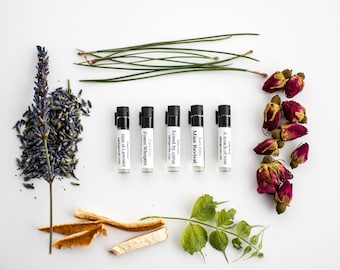 Earth Notes sample pack - all 5 scents, lavender, rose, mint, citrus, pine, oil perfume, natural beauty, alcohol, chemical, and cruelty free