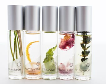NEW* natural oil perfumes, 5 pack set - All Earth Notes scents - large, 1/3 oz bottles