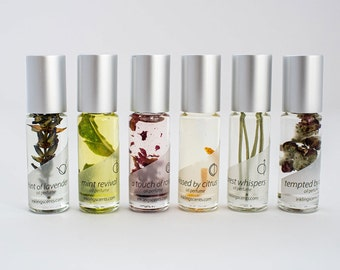 Earth Notes 6 pack set - All natural oil perfumes - small roll-on bottles; apple, lavender, rose, mint, pine, citrus