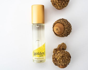 Golden Spirit -limited edition fall scent. Clove, orange, cedarwood, warm, nostalgic. Pure oil perfume, holiday season, natural perfume.