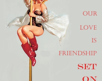 Friendship on FIRE -Scented greeting card -sexy, pinup girl on fire pole, fragrance infused love note-romance is back!