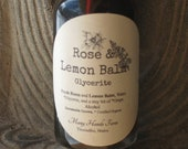 Rose and Lemon Balm Glycerite For Stress, Trauma, Anxiety, Grief, Depression, Digestion, Gentle, Babies, Children, Mamas