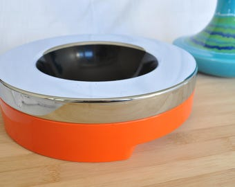 Rare orange ashtray Model Doma made by Harvey Guzzini and designed by Luigi Massoni-Anni ' 70-Italy