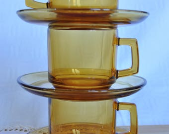 Set of 3 cups with saucer in amber glass genuine 70