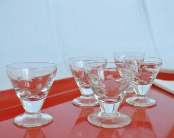 Service of 5 glasses in the 1920s crystal