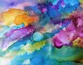 Abstract Painting 5x7 Alcohol Ink Painting on Yupo Paper # 249 with an 8 x 10 acid free mat