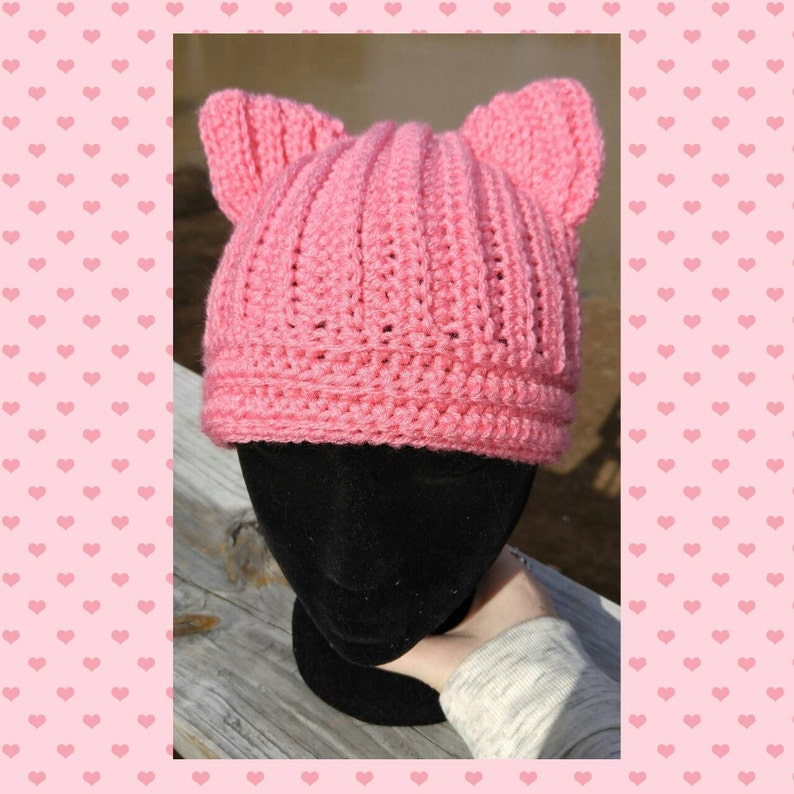 03659b822d5350 Pussy Hat Cat Ears Cat Ears Hat Pussyhat Pink Pussy   Etsy