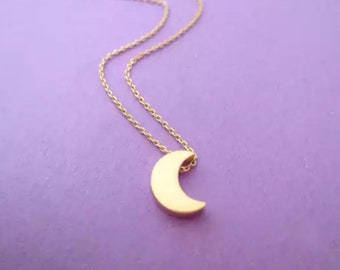Crescent Moon Charm Necklace (Silver)