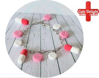 Pills bracelet, red pills, white pills, pink pills bracelet, custom pills bracelet, polymer clay pills, fimo pills, unique pills bracelet