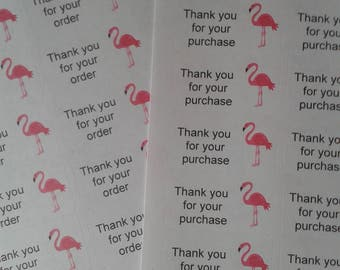 Flamingo, thank you for your order stickers, thank you for your purchase stickers, business stickers, business stationery, flamingo stickers